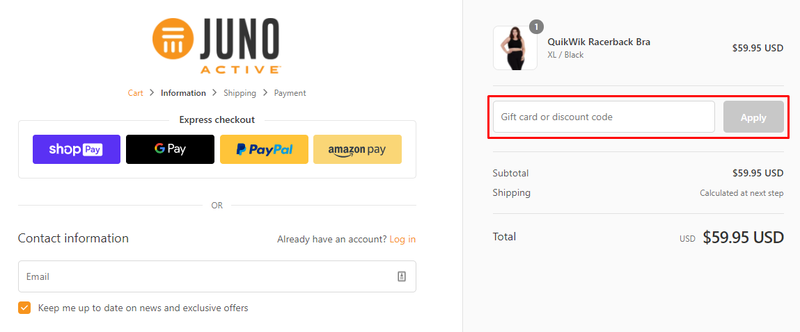 How do I use my JunoActive discount code?