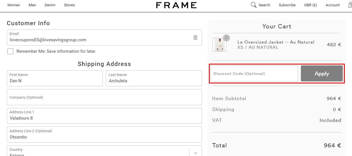 How do I use my FRAME discount code?
