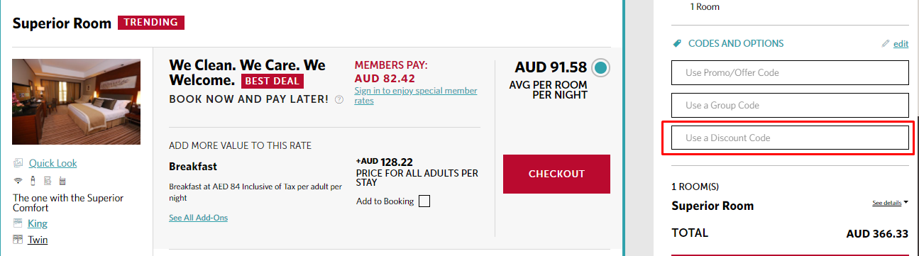 How do I use my Millennium Hotels discount code?