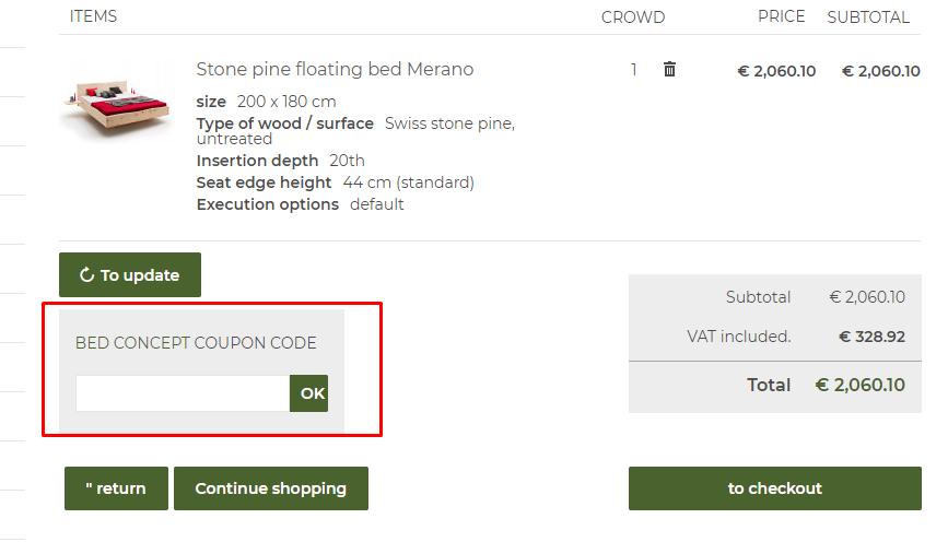 How do I use my Bettkonzept coupon code?