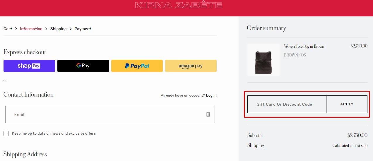 How do I use my Kirna Zabete discount code?