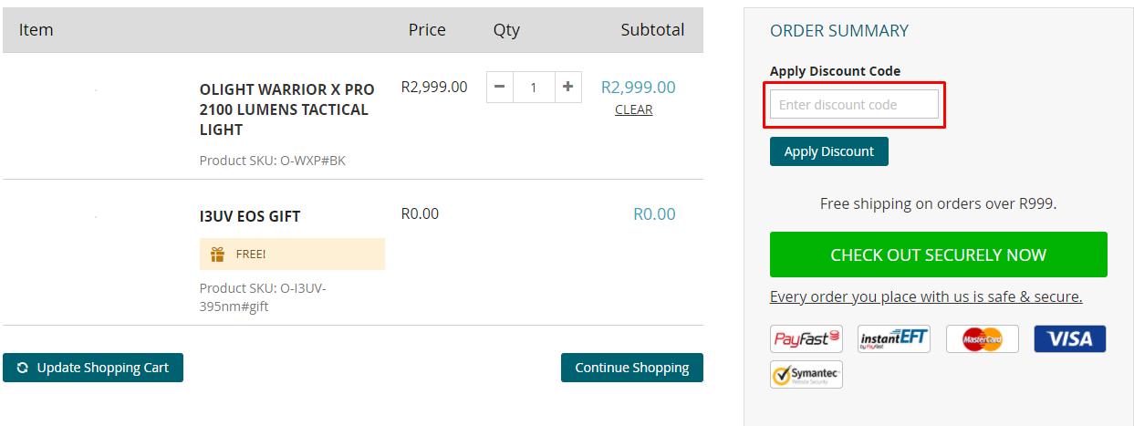 How do I use my Olight discount code?