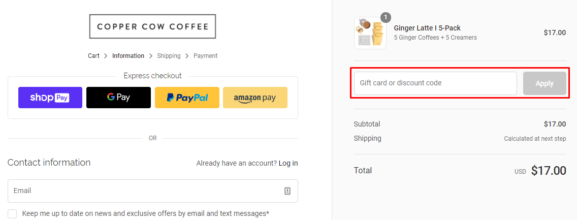 How do I use my Copper Cow Coffee discount code?