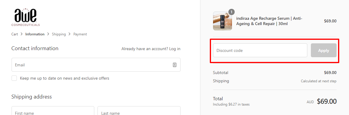How do I use my AWE Cosmeceuticals discount code?