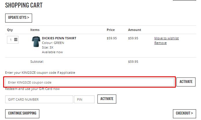 How do I use my Kingsize Big & Tall coupon code?