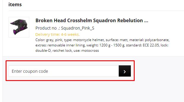 How do I use my Broken Head coupon code?