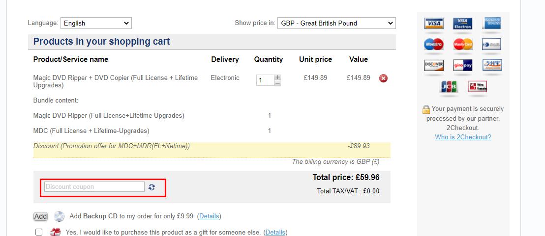 How do I use my Magic DVD discount code?