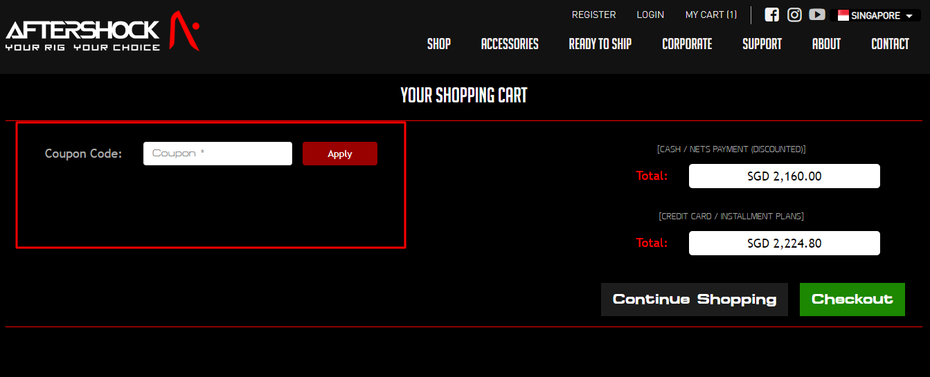 How do I use my AFTERSHOCK coupon code?