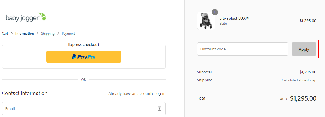 How do I use my Baby Jogger Australia discount code?