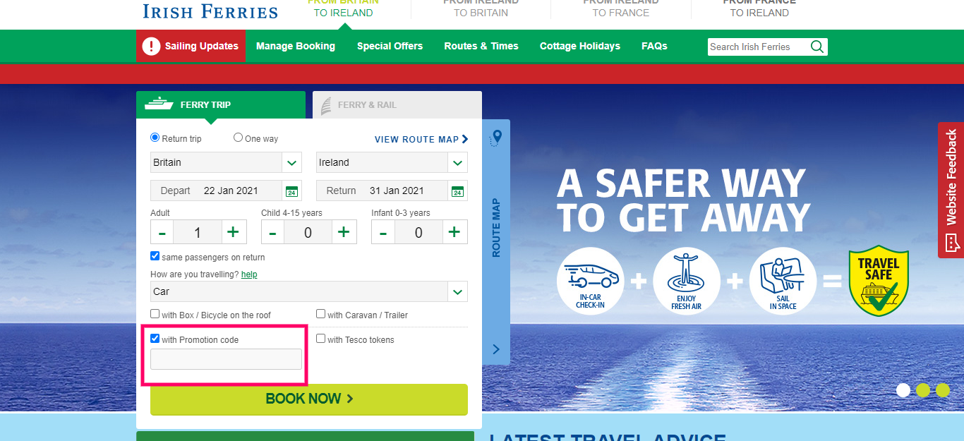 How to useIrish Ferries Promotion code