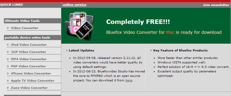 About Bluefox Software Homepage
