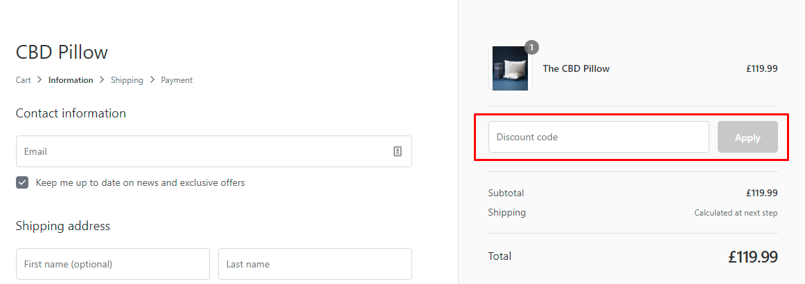 How do I use my CBD Pillow discount code?