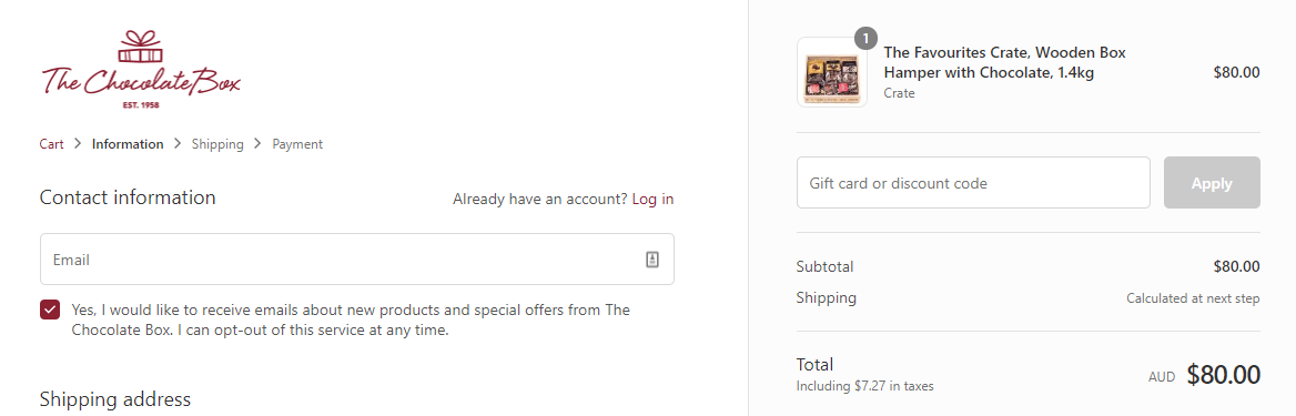 How do I use my The Chocolate Box discount code?