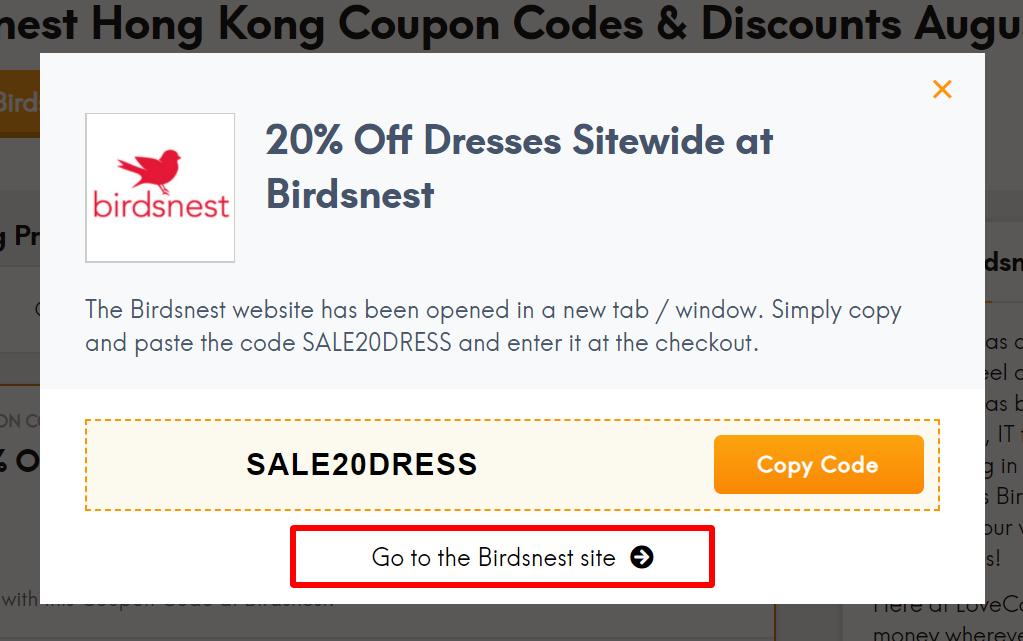 go to Birdsnest site HK