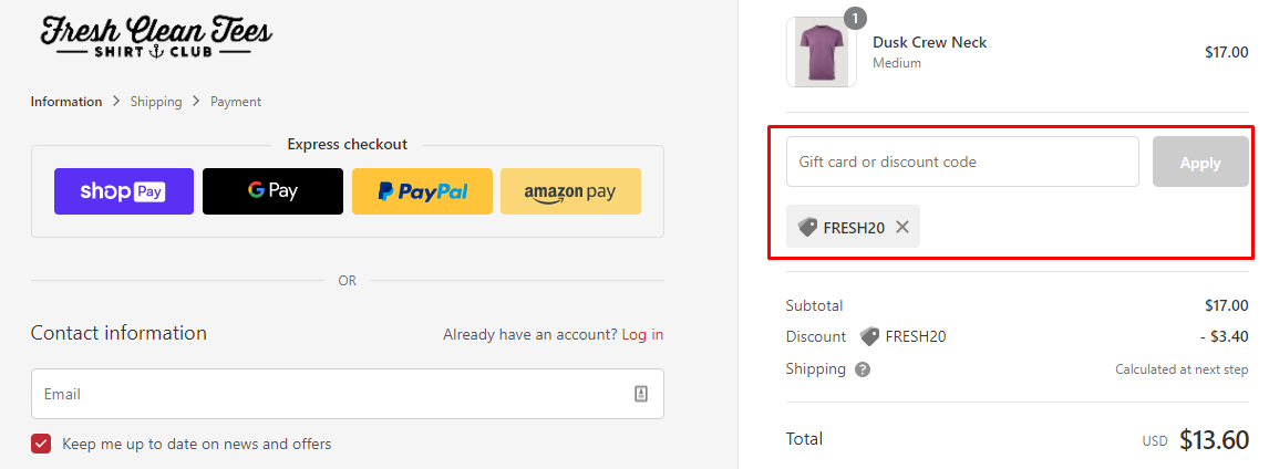 How do I use my Fresh Clean Tees discount code?