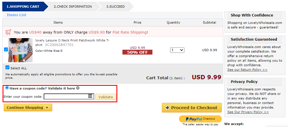 How do I use my Lovely Wholesale coupon code?