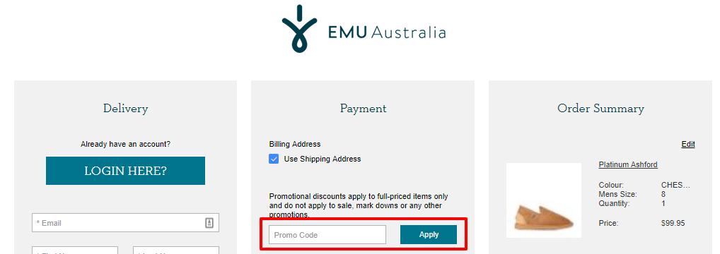 How do I use my EMU Australia discount code?