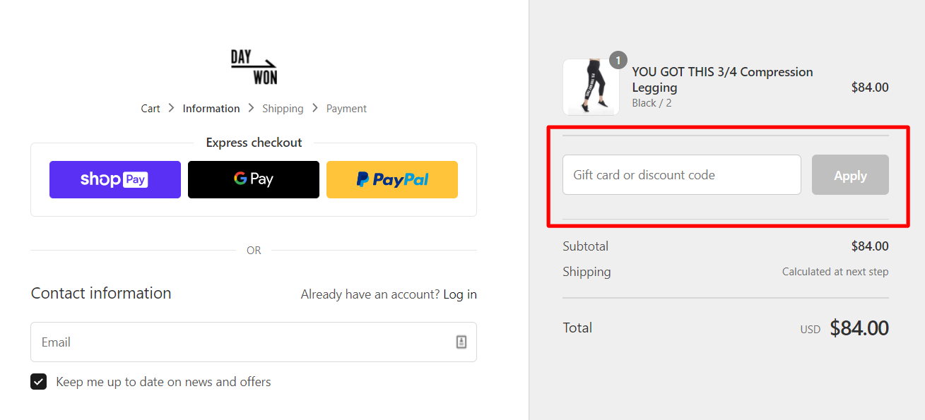 How do I use my DAY WON discount code?