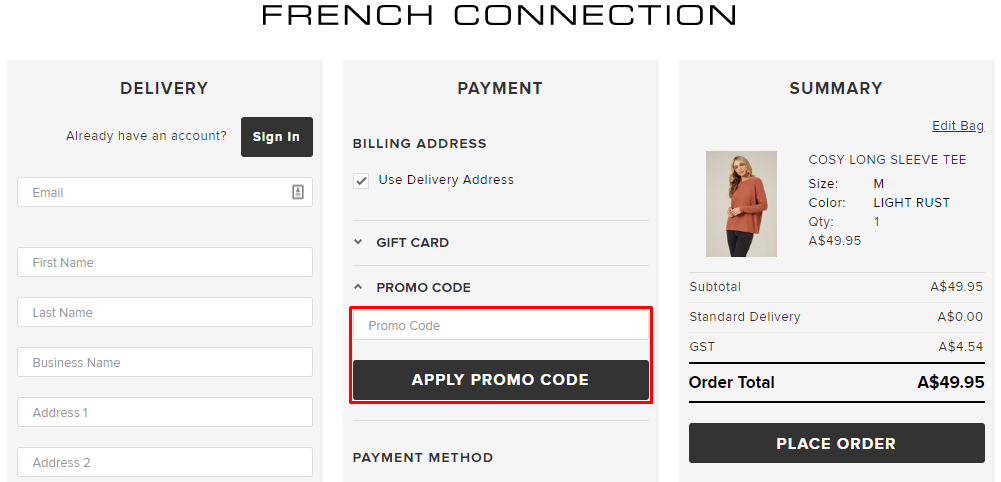 How do I use my French Connection promo code?