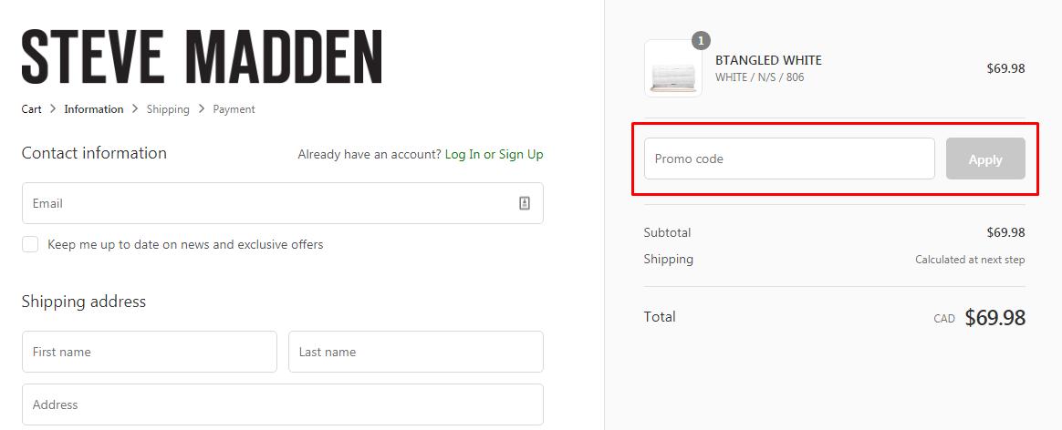 How do I use my Steve Madden promo code?