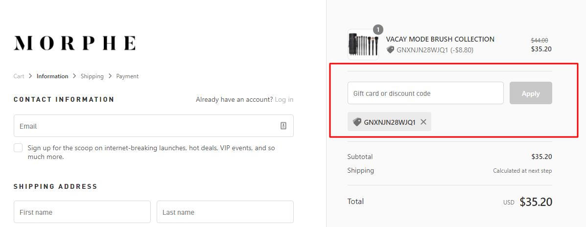 How do I use my Morphe discount code?