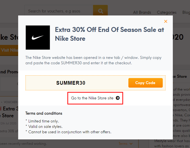 Go to Nike Store site