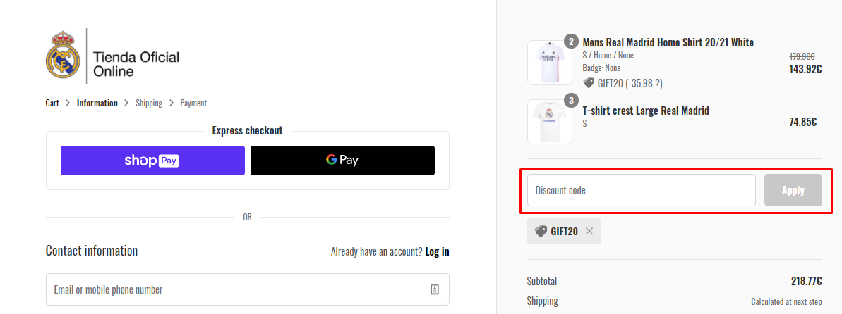 How do I use my Real Madrid Shop discount code?