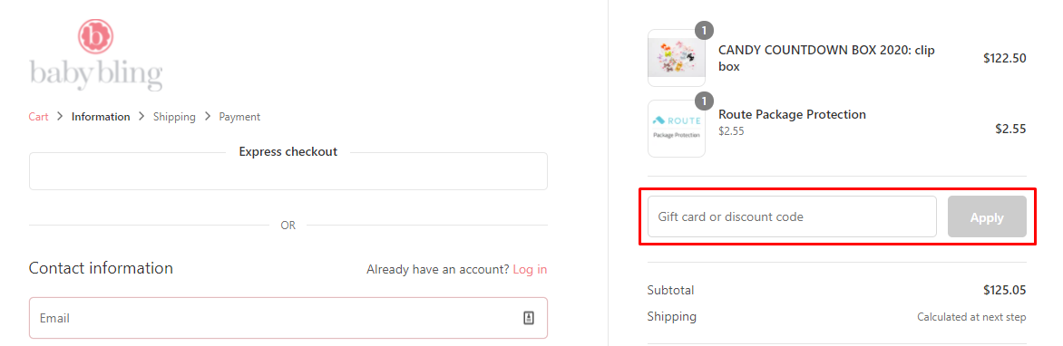 How do I use my Baby Bling Bows discount code?