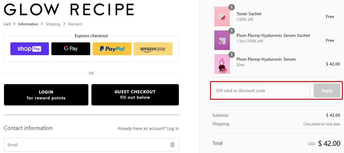 How do I use my Glow Recipe discount code?