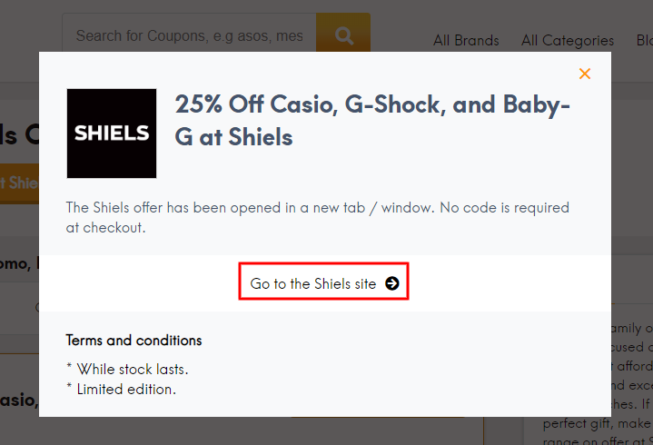 Go to Shiels site