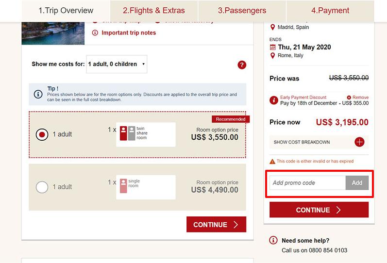 How do I use my Trafalgar Tours discount code?