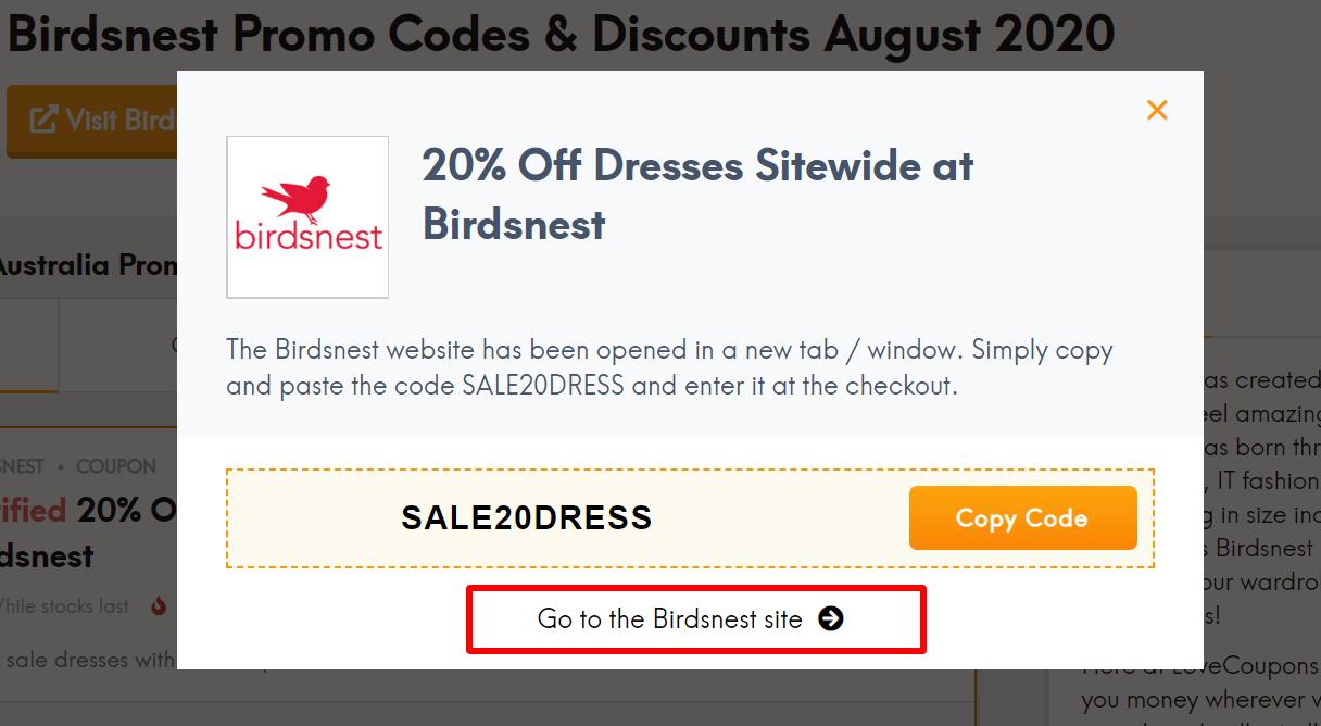 go to Birdsnest site