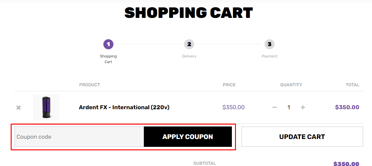 How do I use my Ardent coupon code?