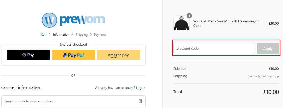 How do I use my PreWorn discount code?
