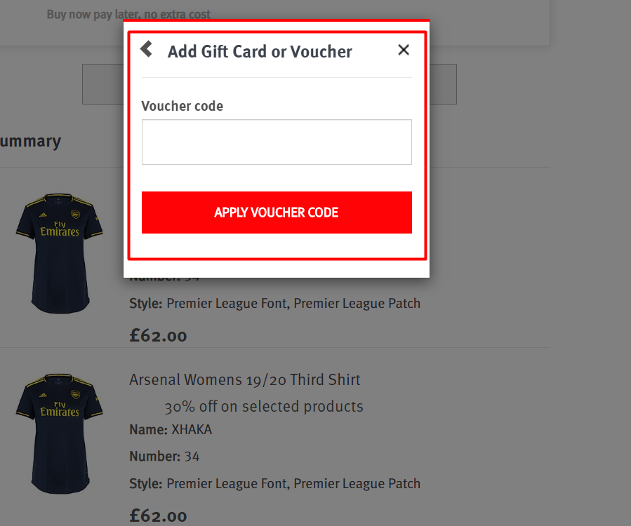 How do I use my Arsenal discount code?