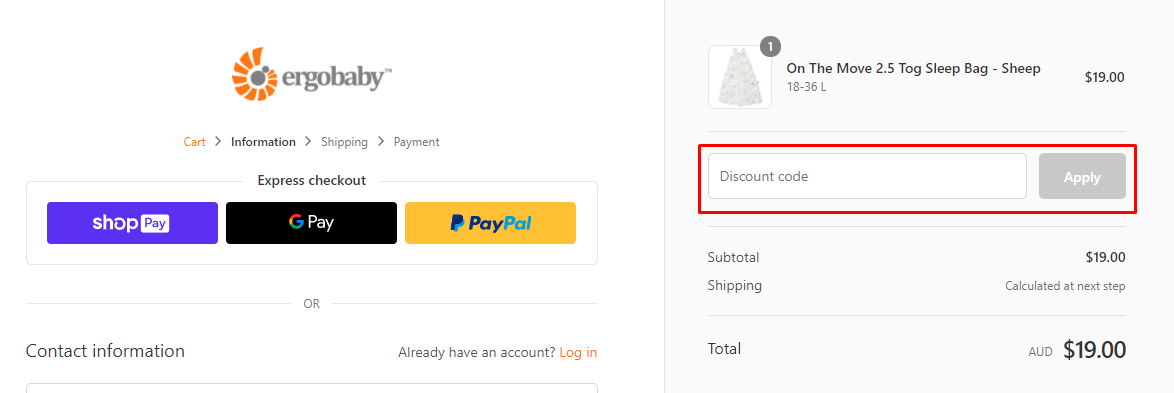 How do I use my Ergobaby discount code?