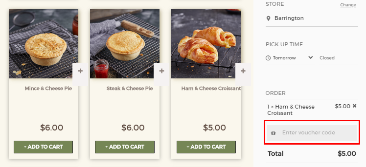 How do I use my Brumby's Bakeries voucher code?