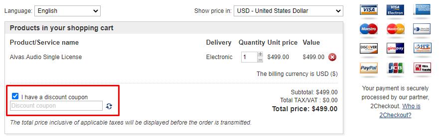How do I use my Alvas.net discount code?