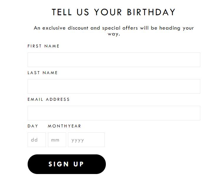 Birthday club sign up