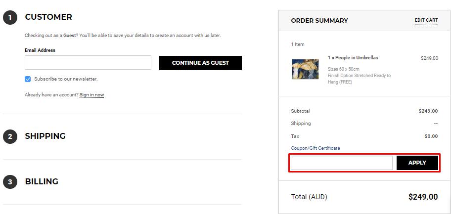 How do I use my Direct Art Australia coupon code?