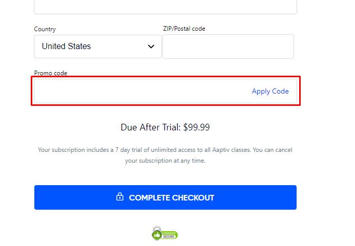 How do I use my Aaptiv coupon code?
