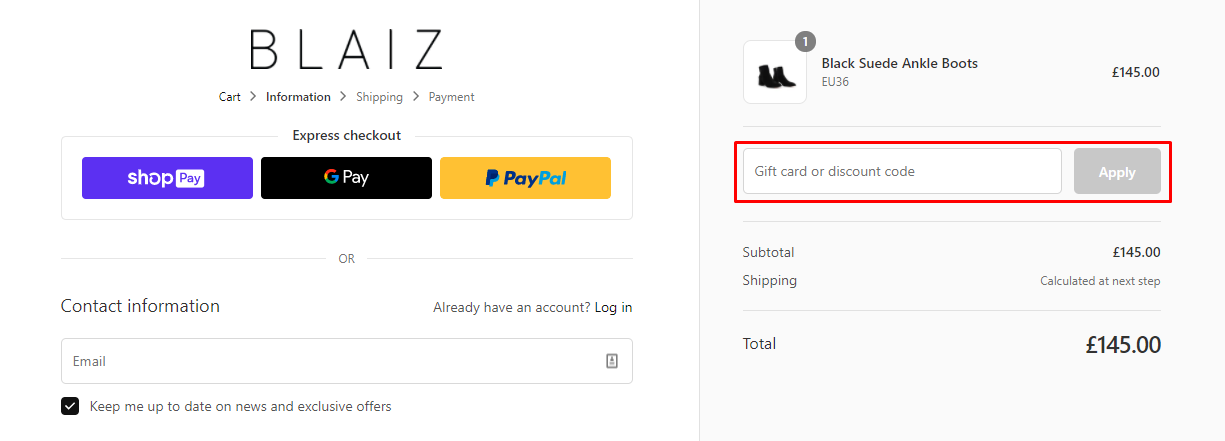 How do I use my Blaiz discount code?
