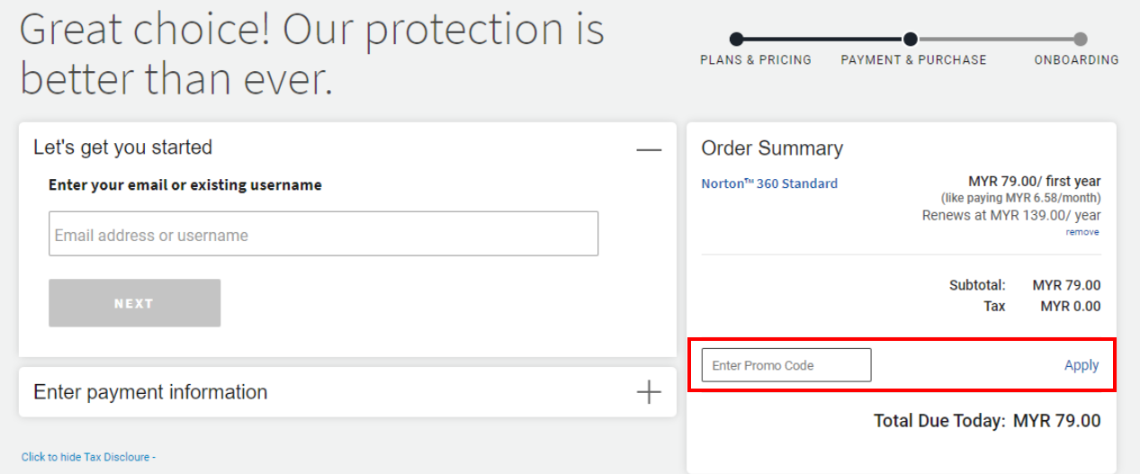 How do I use my Norton promo code?