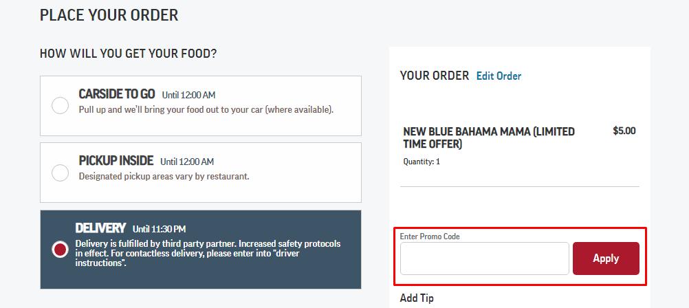 How do I use my Applebee's promo code?