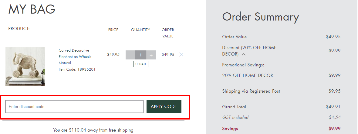 How do I use my Bed Bath N' Table discount code?