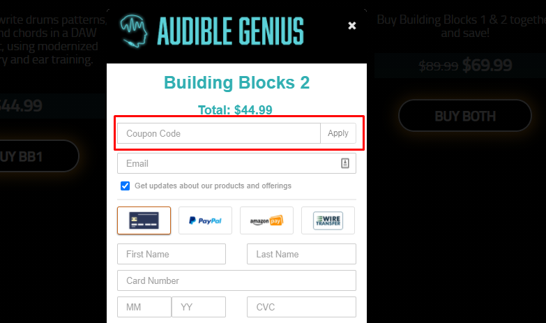 How do I use my Audible Genius coupon code?