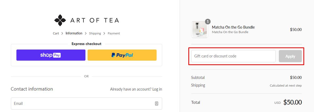 How do I use my Art of Tea discount code?