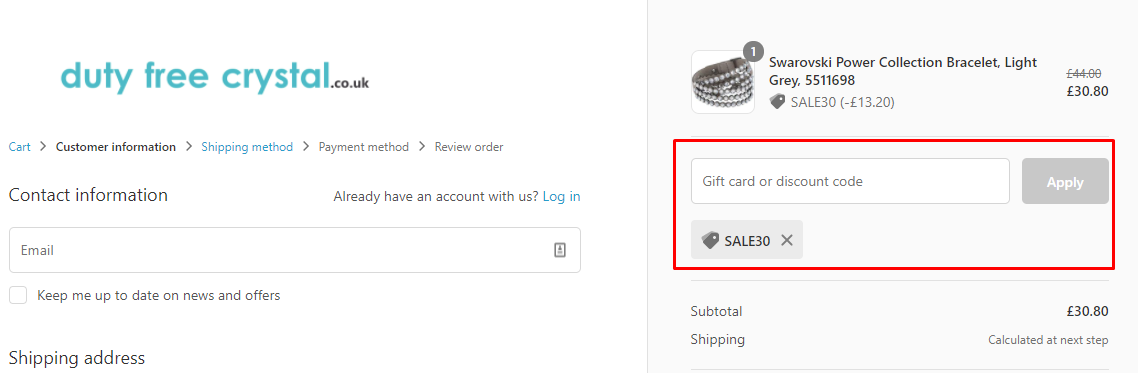 How do I use my Duty Free Crystal discount code?