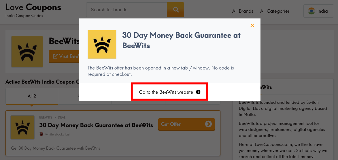 Beewits IN Get Offer