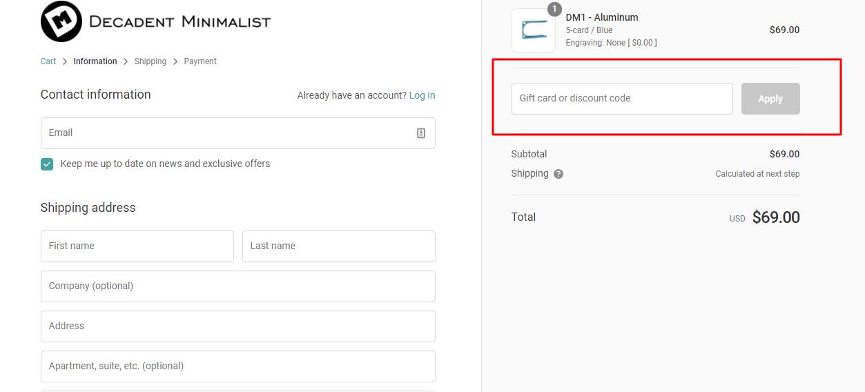 How do I use my Decadent Minimalist discount code?